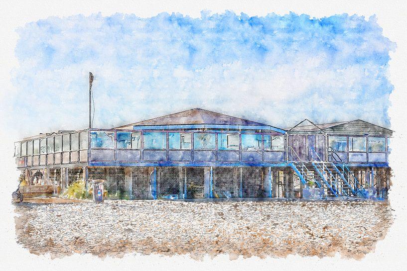 Strandpavillon C-Seite in Ouddorp (Aquarell) von Art by Jeronimo