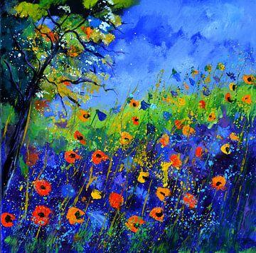Wilde bloemen in de zomer van pol ledent