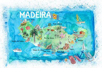 Illustrierte Karte der Insel Madeira Portugal mit Orientierungspunkten und Höhepunkten von Markus Bleichner