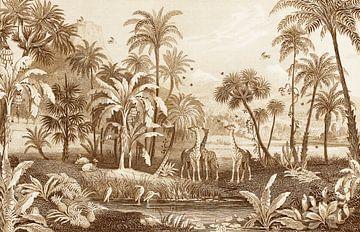 Dschungel Vintage mit Giraffen, Farnen, Palmen und Wasser mit Vögeln. von Studio POPPY
