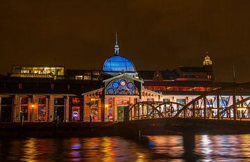 De vissenhal van Hamburg bij nacht van