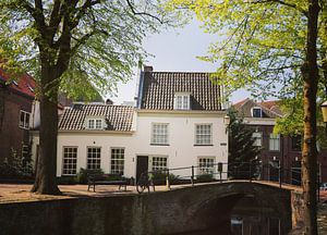 Old house alongside a bridge and canal in Amersfoort, Netherlands