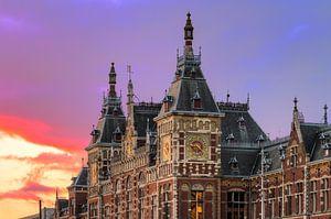 Amsterdam CS zonsondergang