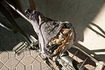 Ein sehr alter, getragener Oldtimer-Fahrradsattel von Tjeerd Kruse