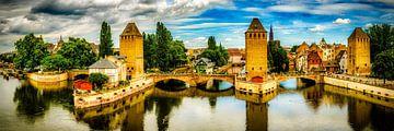 Panorama Gedeckte Brücken im Stadtteil Klein Frankreich in Strasbourg Frankreich von Dieter Walther