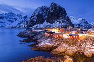 Hamnoy op de Lofoten na zonsondergang