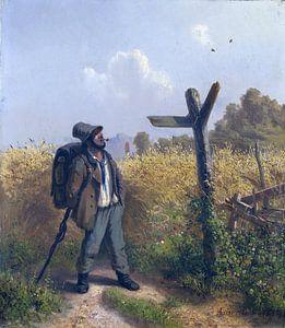 Der Landstreicher am Wegweiser, ADOLF HEINRICH LIER, 1854
