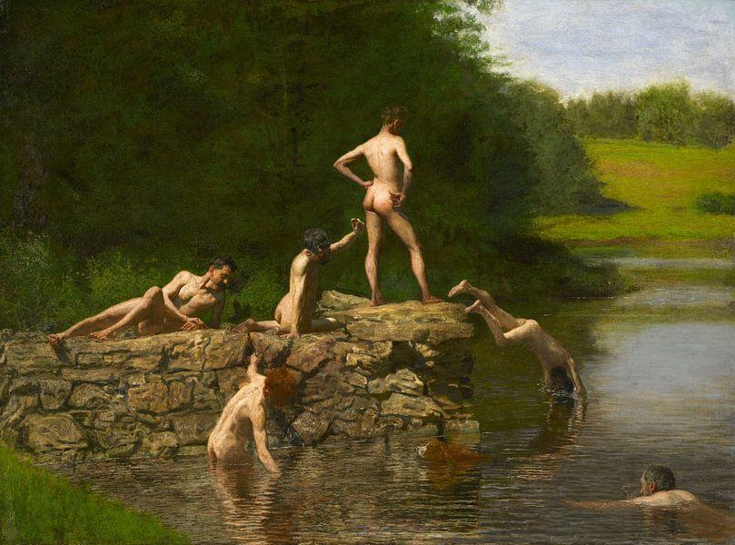 Das Schwimm-Loch, Thomas Eakins von Meesterlijcke Meesters