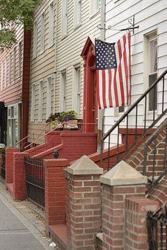 Typische straat in Brooklyn, portiekwoningen van