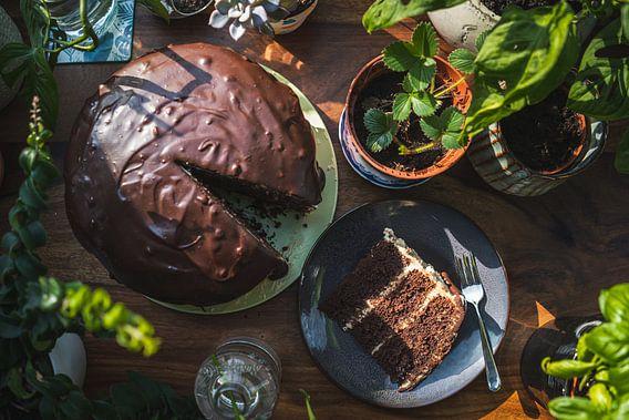 Chocolade taart met liefde gebakken