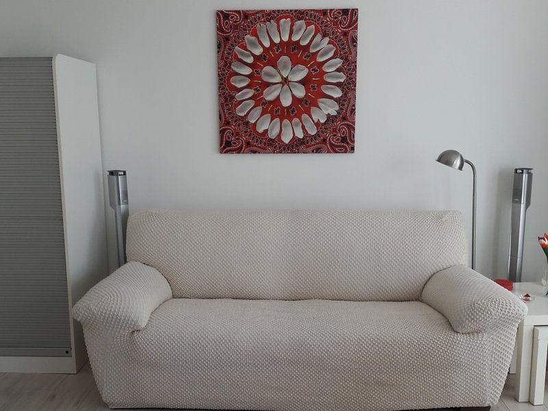 Klantfoto: Bloemenmandala Tulip van Margreet Ubels, op canvas