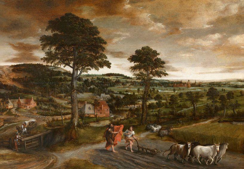 Landschaft mit der Berufung von Elisa,Jan Massys von Meesterlijcke Meesters
