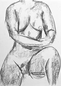 Modellzeichnung einer Frauenfigur.