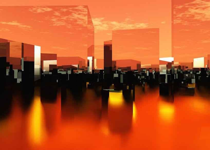 futuristische architectuurstad Q-City 0 van Max Steinwald
