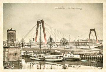 Carte postale d'époque: le pont Guillaume à Rotterdam sur Frans Blok