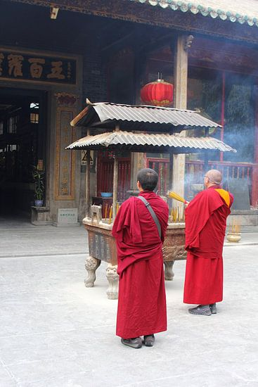 Buddhist monks in mystic temple,  China