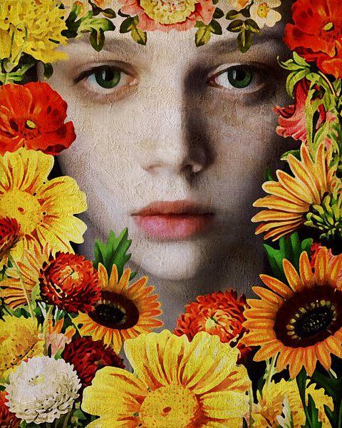 Vrouw van de wereld - Gezicht van een meisje omringd door bloemen van Jan Keteleer