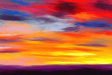 Expressief landschapsschilderij met dramatische kleuren