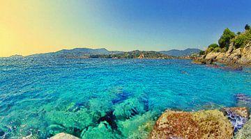 Italië - Zwemmen in Zee Tijdens Zonsondergang in de Golf van Tigullio van Dirk van der Ven