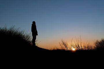 Kijken naar de zonsondergang van Bert Broer