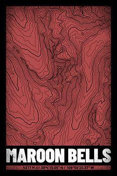 Maroon Bells | Kaart Topografie (Grunge) van ViaMapia