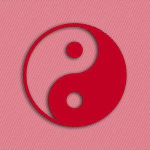Ying Yang rot-weiß