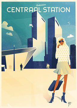 Rotterdam Centraal Station art deco illustratie van Daniel Wark