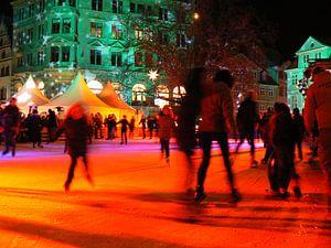 Ice Skaters at illuminated