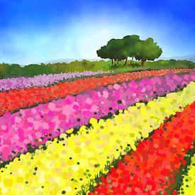 Holländische Tulpenfelder mit Bäumen von Tanja Udelhofen