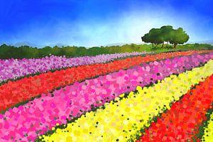 Landschapsschilderij van Nederlandse tulpenvelden met bomen van Tanja Udelhofen