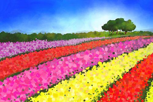 Landschapsschilderij van Nederlandse tulpenvelden met bomen