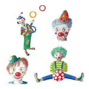 Vier fröhliche Clowns