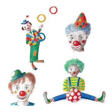Vier vrolijke clowns van Ivonne Wierink
