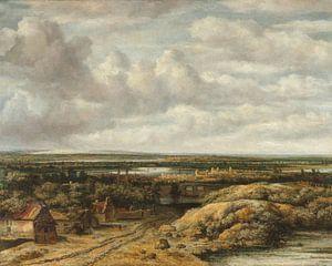 Vergezicht met hutten aan een weg, Philips Koninck van