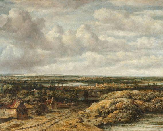 Vergezicht met hutten aan een weg, Philips Koninck