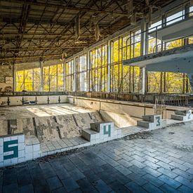 """Zwembad """"Lazúrnyj"""" of Azure in Pripyat nabij Tsjernobyl van Karl Smits"""