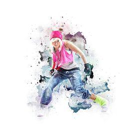 Abstract Streetdance / Dans Muziek Schilderij Met Vrouw van Diana van Tankeren