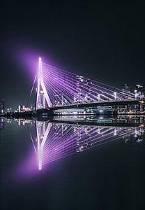Paarse Erasmusbrug Rotterdam, weerspiegeld in het water van