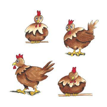Grappige getekende bruine kippen van Ivonne Wierink