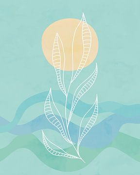 Blauwe golven met een zon en een abstract zeegras plant van Tanja Udelhofen