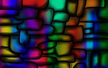 Abstracte kunst - Regenboogstenen van Patricia Piotrak