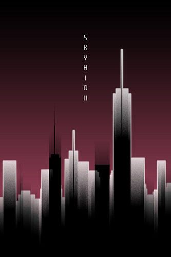 Grafische Kunst Skyhigh Lights   rood van Melanie Viola