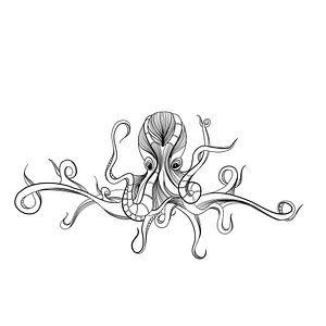 Poster Tintenfisch - schwarz-weiß