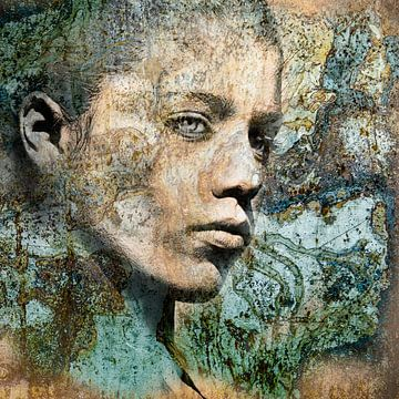 Portret jonge vrouw in turquoise blauw en groen van Yke de Vos