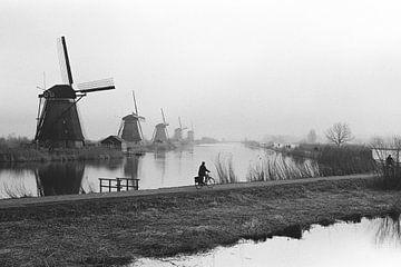 Radfahrer in der Nähe von Kinderdijk