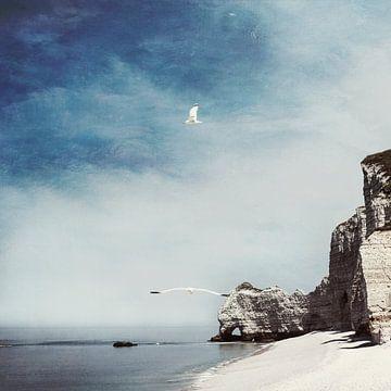 Strand Etretat und Falaise d'Amont von