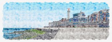 Flushing und Boulevard von Vlissingen (Panorama-Aquarell) von Art by Jeronimo