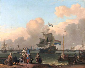 Het IJ voor Amsterdam met het fregat De Ploeg van Atelier Liesjes