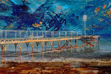 Sterrennacht zeekust met pier van Geert van Kuyck