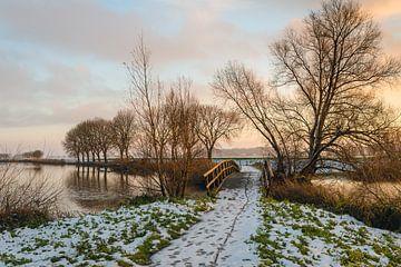 Winters landschap met bruggetje van Ruud Morijn